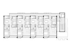 Gustau Gili, 16 Habitatges al Fòrum, Barcelona 2014 The Plan, How To Plan, Japan Architecture, Architecture Design, Loft Hotel, Modular Housing, Residential Complex, Social Housing, Apartment Plans