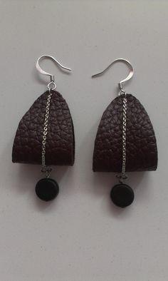Week 2 - Earrings - Maroon leather, chain, black cylindrical beads