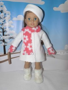 White Jacket Coat Hat Daisy Scarf Mittens Fits American Girl Doll Clothes 18"