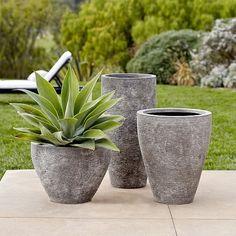 Ridged Stone Planters | West Elm Pots escalier ou jardins