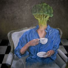 Artists and tea Myles Young. Self Portrait Holding A Teacup.