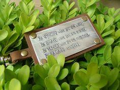 One BADASS Bag Tag Custom Hand Stamped Leather Luggage Tag or Key Chain Your Custom Message by MyBella by MyBellaByLizLollar on Etsy https://www.etsy.com/listing/153391035/one-badass-bag-tag-custom-hand-stamped