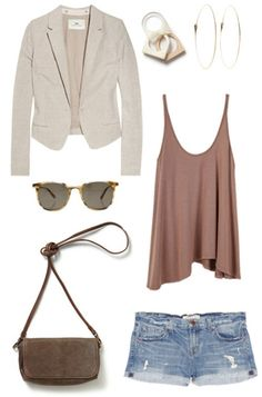 Love the shorts and the blazer.  The purse is ugly and the shorts are too short