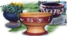 Mexican Pottery made from tires.  Learn how at tirecrafting.com