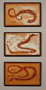 Jimmy Lee Sudduth | American, 1910-2007 | Snakes | 1986 | House paint and earth pigments and sugar or syrup on board | 15 x 23 1/2 inches | Purchase with High Museum of Art Enhancement Fund | Number: 2005.210.1-3