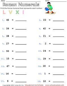 Roman Numeral Worksheets with Answers | Worksheets, Roman and Math