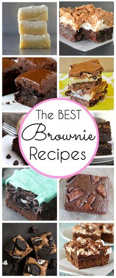 I love love love brownies. Here are some of the best recipes!!! The BEST Brownie Recipes on Pinterest - www.classyclutter.net #brownies #recipes