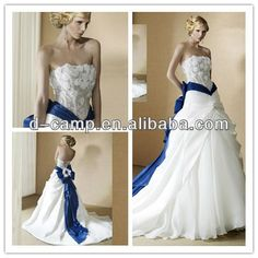 Wd-1638 New Arrival Strapless See Through Bodice A Line Skirt Royal Blue And White Wedding Dresses - Buy Royal Blue And White Wedding Dresses,White Wedding Dress,See Through Bodice Wedding Dress Product on Alibaba.com