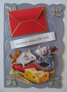 """Grußkarte mit kleinem Gutscheinscheinumschlag oder um ein paar """"Mäuse"""" zu verschenken"""