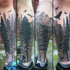 Mens Leg Sleeve Forest With Bigfoot Tattoo