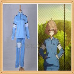 Kyoukai no Kanata Mirai Kuriyama Blue Sportswear Jersey Cosplay Costume