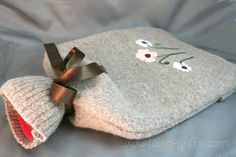Felted sweater hot water bottle cozy, need to make one of these Crochet Crafts, Crochet Projects, Sewing Projects, Recycled Sweaters, Wool Sweaters, Water Bottle Covers, Homemade Bath Bombs, Diy Pillows, Crafts To Make