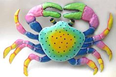 Hand Painted Metal Art Crab Wall Hanging Crab by MetalArtofHaiti