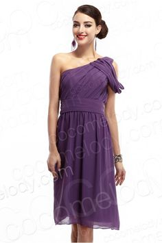Queenly A Line One Shoulder Knee Length Purple Chiffon Prom Dress COKK14001 #bridesmaiddress #cocomelody