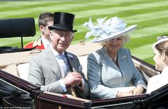 Radiant: The Duchess of Cornwall was lovely in ice blue and beamed at the crowds as she was driven along the racecourse with a dapper Prince Charles