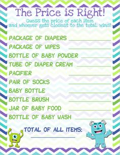 Monsters Inc Baby Shower Game The Price is by JustAFavorbyJenna