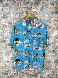 40s Aloha Hawaiian shirt by Polynesian Sportswear made in Hawaii Water skiiers SilkRayon Loop Collar shirt MediumLarge