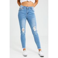 Ally Fashion Mid Waist Ripped Raw Hem Skinny ($29) ❤ liked on Polyvore featuring jeans, l blue, skinny fit jeans, denim skinny jeans, super skinny ripped jeans, distressed jeans and blue ripped skinny jeans
