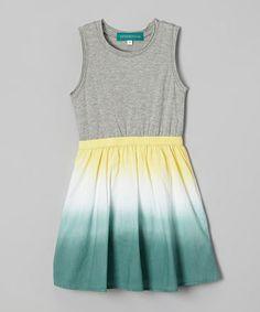 Loving this Gray & Blue Tie-Dye Dress - Toddler & Girls on #zulily! #zulilyfinds