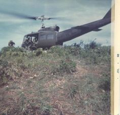 US Army Bell UH-1 Huey offloading troops, 1968