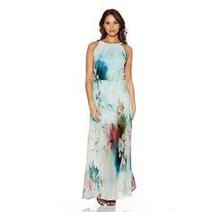 Quiz Aqua Flower Print Chiffon Maxi Dress | Debenhams