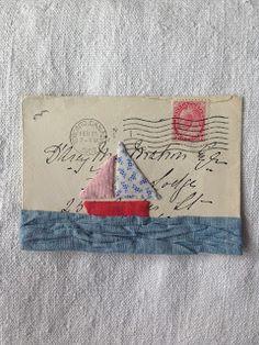 Fabric Postcards, Fabric Cards, Fabric Paper, Mail Art Envelopes, Paper Collage Art, Envelope Art, Postcard Art, Textiles, Textile Art