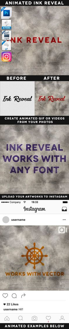 DOWNLOAD:   goo.gl/n3L8vVAnimated Ink Reveal EffectWith this powerful tool you can create awesome instagram videos, animated gif files or static jpg. images. Save tons of time and create ...