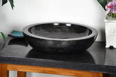 Kamenné umývadlo - čierny leštený mramor DIVERO Garden Pots, Serving Bowls, Tray, Tableware, Dinnerware, Dishes, Trays, Place Settings, Bowls