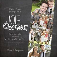 remerciement mariage joie et bonheur - Montage Photo Remerciement Mariage