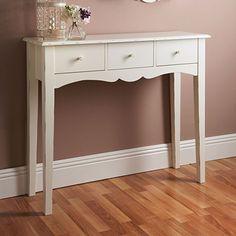 Tavolo consolle Top Home Solutions®, stile: shabby chic, con 3cassetti, in legno, colore: bianco, toeletta per corridoio.