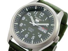 105$ on Amazon: Seiko 5 Men's SNZG09K1 Sport Analog Automatic Khaki Green Canvas Watch #seiko #seiko5 #watch #wristwatches #military #fieldwatch #affordable