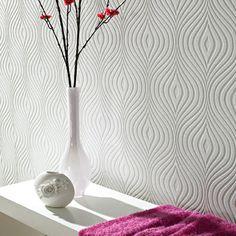"Graham & Brown Paintable Curvy 32.8' x 20.5"" Geometric Embossed Wallpaper   AllModern"