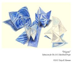 Origami. Pencil drawing. © Tarja K. Kuronen 2011.