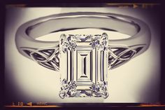 Emerald Cut Diamond Triquetra #Celtic #Engagement #Ring