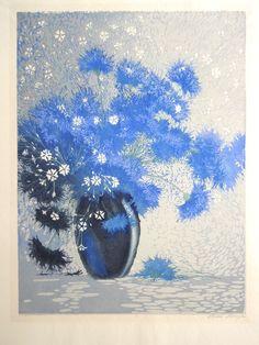 ✨ Paul Oskar Droege (1898 - 1983) - Blumenstilleben, Original-Farbholzschnitt, ca. 40 cm x 30 cm ::: Colour woodcut