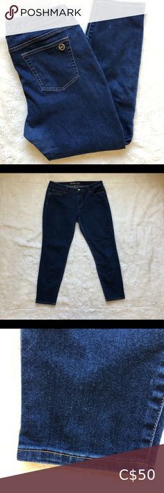 """Michael Kors Skinny Jeans Dark Wash Size 12 Michael Kors Skinny Jeans Size 12 Dark wash 17"""" waist 9"""" front rise 21"""" hip 10.5"""" thigh 37"""" length 8"""" knee 28"""" inseam 6"""" leg opening Shows some very small signs of general wear No stains or flaws Michael Kors Jeans Skinny"""