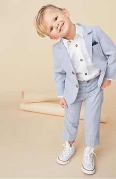 ring bearer suit - Little Brother by Pippa & Julie Seersucker Suit Set (Baby Boys)