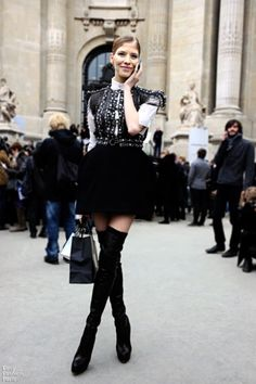ad894c880c4 ELENA PERMINOVA   dressed to party with above-the-knee black boots