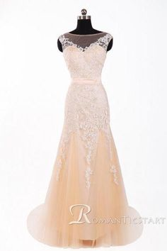2015 Champagne chiffon long prom dress with appliques,V back sweep train evening…
