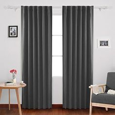 Back Tab and Rod Pocket Curtains Blackout Thermal Insulated Window Curtains Home #Deconovo