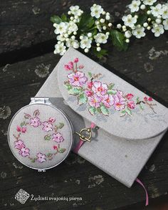 .pretty cross stitch bag and compact