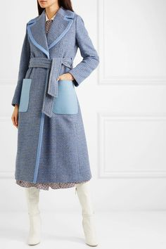 Fendi - Belted canvas and leather-trimmed wool-blend twill coat Fendi Belt, Fendi Dress, Blue Fashion, Womens Fashion, Wrap Coat, Blue Canvas, Blue Wool, New Wardrobe, Wool Blend