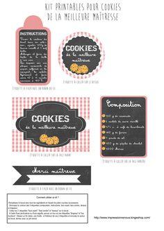 free printable - etiquette cookies petusuette our maitresse Kit Cookies, Diy Cadeau Maitresse, Diy Planters, Jar Gifts, Mason Jar Crafts, Homemade Gifts, Teacher Gifts, Free Printables, Packaging