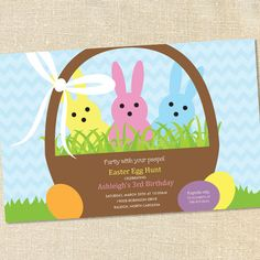 """""""Party with your peeps!"""" Invitation for Egg Hunts and Easter Themed Birthday Parties by Sweet Wishes Stationery"""