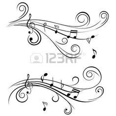 Notes de musique ornementales avec des remous sur fond blanc. Banque d'images - 11092558