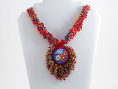 Bounty necklace ON SALE at www.madineurope.eu - #handmade #necklace #colours #flowers #uniquepiece #seedbeads #dropbeads #pearls #bicone #perfectgift #fashion #style #shopping #shoppinonline #accessories #summerstyle