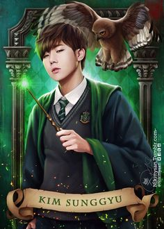 Infinite Goes to Hogwarts by Nikittysan ∞ on ArtStation. Infinite Songs, Kim Myungsoo, Infinite Members, Kim Sung Kyu, Boy Idols, Kpop Drawings, Before The Dawn, Fantasy Male, Woollim Entertainment