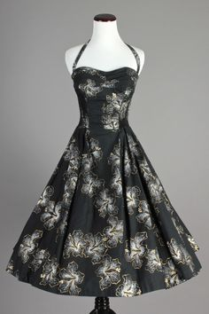 60s VTG Shaheen Blk Hawaiian Dress w/ Full Skirt in Gold & Silver Hibiscus Print