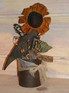 Sunflower and Crow In Can