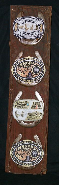 Barn wood buckles framed with the shoe of the horse you won it on <3